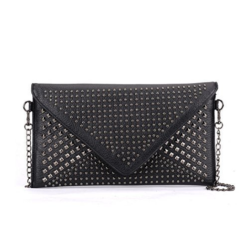 Black Womens Bags Evening Foldover Party Prom I81 Hand Studded Faux Ladies Dressy Clutch Envelope Leather Bw76UpBq