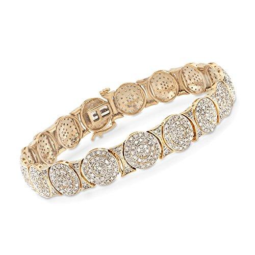 Diamond Circle Link Bracelet - Ross-Simons 2.00 ct. t.w. Diamond Circle Link Bracelet in 18kt Gold Over Sterling