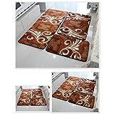 GHGMM Coral Velvet Mat Three-Piece Suit, Bedroom, Bedside, Bathroom Door, Kitchen Mat, Bay Window Mat, Washable, Non-Woven Fabric,D,50120+5080+4060Cm