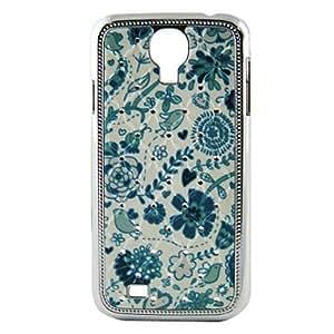 LZXElectroplating Crystal Relief Blue Flower Pattern Hard Case for Sansung I9500