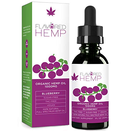 Flavored Hemp Oil - 1000 MG - Blueberry Flavor - Hemp Oil for Pain Stress Anxiety Relief & Improves Overall Health - Grown & Made in The USA