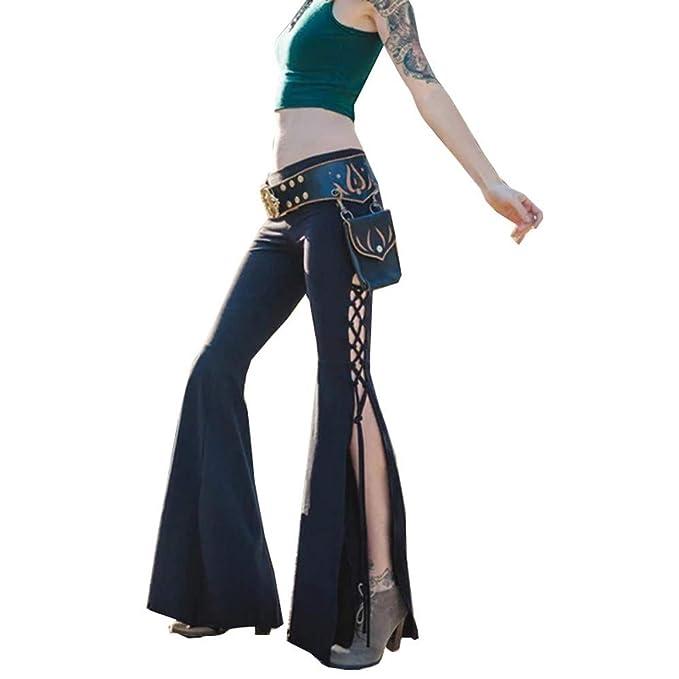 Pantalones Casuales para Mujer De Cintura Alta CeñIdos Moda Pantalones  Largos Transpirables Pantalones de Pierna Ancha Moda Mujer Señoras Amplio  Pierna ... 738e8e6e24f7