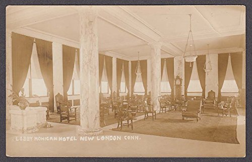 Lobby Mohican Hotel New London CT RPPC postcard 1910s