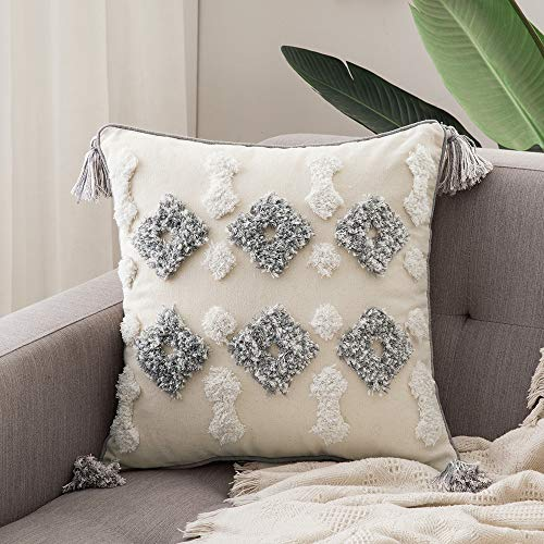 18' Beige Decorative Pillows - MIULEE Decorative Throw Pillow Cover Tribal Boho Woven Tufted Pillowcase with Tassels Super Soft Square Pillow Sham Cushion Case for Sofa Couch Bedroom Car Living Room 18X18 Inch Gray