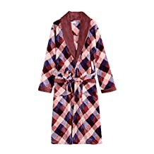 Men's winter thick warm flannel nightgown long Lacing coral velvet plaid long pajamas bathrobes sleepwear nightgown red XL
