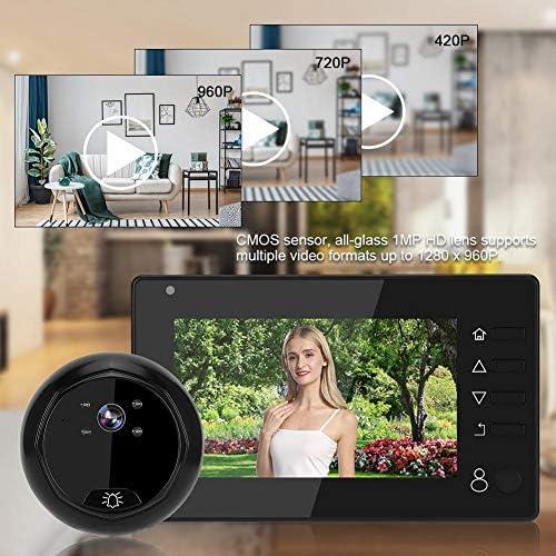 Soporte Tarjeta de Memoria 32G Pantalla TFT LCD Timbre de Video Inteligente con IP55 Impermeable Visi/ón Nocturna IR 4.3 Visor de Puerta de Mirilla