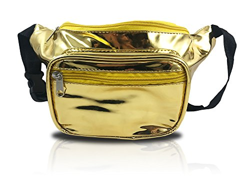 nineteen80something Shiny Gold Fanny Pack, Metallic Waist Bag, Golden 24k, For Raves Concerts and Festivals (Shiny Gold) -