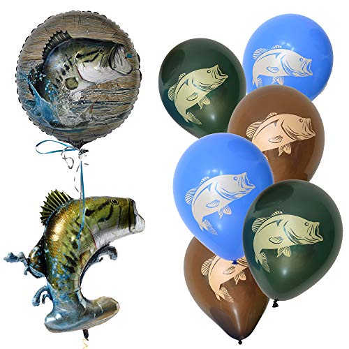 Havercamp Gone Fishin' Balloon Pack | Large, Latex & Mylar Balloons | Great for Father's Day, Fishing Tournament, Birthday Party ()