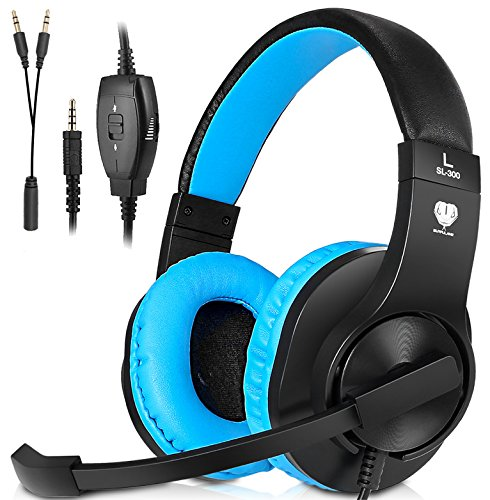 511WZ1eu5dL - Headset Gaming for PS4 ,Xbox One Controller ,Wired Noise Isolation, Over-Ear Headphones with Mic ,Stereo Gamer Headphones 3.5mm