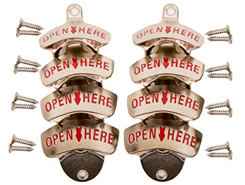 Eight Pack – Soula Designs Wall Mounted Beer and Soda Bottle Opener, Free Mounting Hardware, Easy Installation Mount, Set of 8