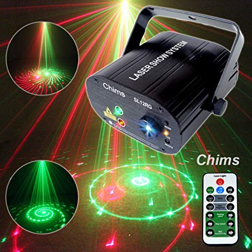 Chims DJ Laser Lights Projector Red Green Laser with LED 12 Patterns RG Color Decoration Lighting System for Family Party DJ Disco Bar Club Music Show Xmas Christmas (2 Lens RG 12 Patterns) (Best Home Karaoke Machine Uk)