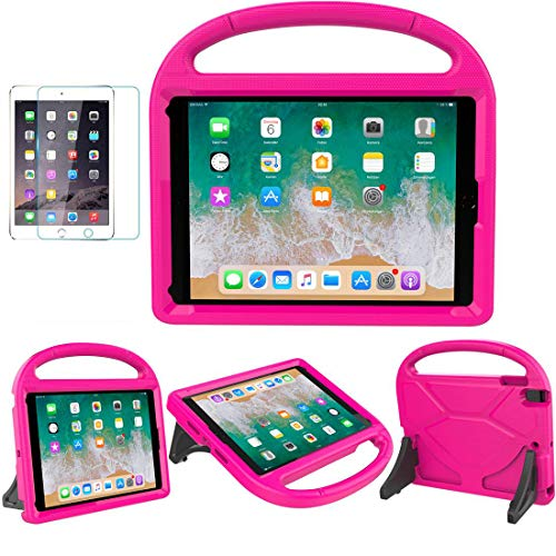 iPad 9.7 2018/2017 / Air 1/2 / Pro 9.7 Case for Kids - SUPLIK Duable Shockproof Protective Handle Bumper Stand Cover with Screen Protector for iPad 9.7 inch 5th/6th Generation, Pink