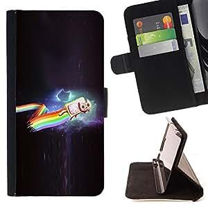 BullDog Case - FOR/Sony Xperia Z3 D6603 / - / cat rainbow cosmos flying cartoon art drawing /- Monedero de cuero de la PU Llevar cubierta de la caja con el ID Credit Card Slots Flip funda de cuer