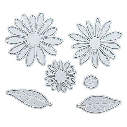 HUELE Set of 6 Metal Flowers Leaf Die Cuts Stamps Embossing Stencil for Card Making Scrapbooking Album Paper DIY Crafts -