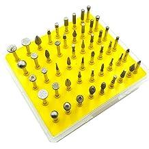 DerBlue 50-Piece 1/8-Inch Shank Diamond Coated Rotary Burrs Set Fits Dremel Rotary Tools,Diamond Burr Set for Jewelry,Glass,Stone,Ceramic,Gemstones Lapidary (Small Head Style)