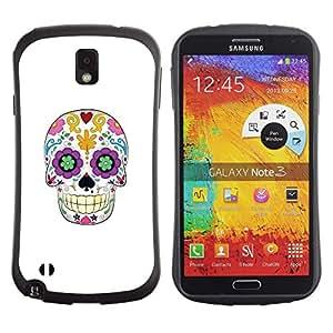 Fuerte Suave TPU GEL Caso Carcasa de Protección Funda para Samsung Note 3 N9000 N9002 N9005 / Business Style Skull Floral White Minimalist Spring