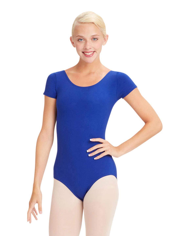 Capezio Women's Team Basic Short Sleeve Leotard,Royal,Medium