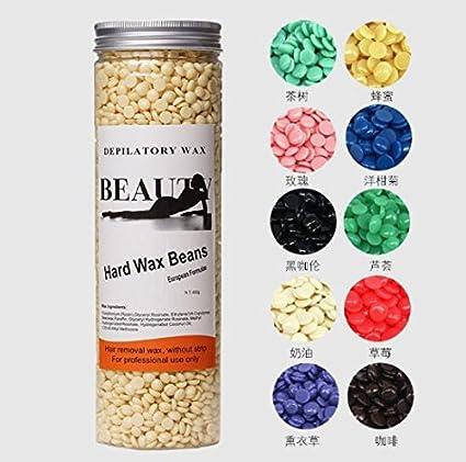 Waxing Hot Wax Warmer 5 types Hard Pearl Beans, Depilatory Hard Wax Bean Arm Leg Body Hair Removal Beeswax Pellets Painless Hair Removal Wax heater Machine for Body(400g/Bottle )(Tea tree) Brrnoo