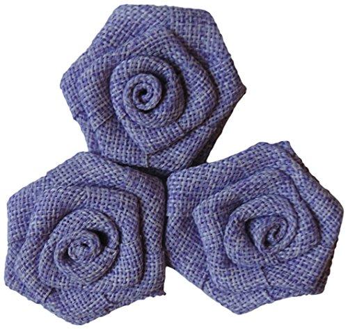 Maya Road 401413 Vintage Linen Burlap Roses, 2-Inch, Lilac, 3-Pack