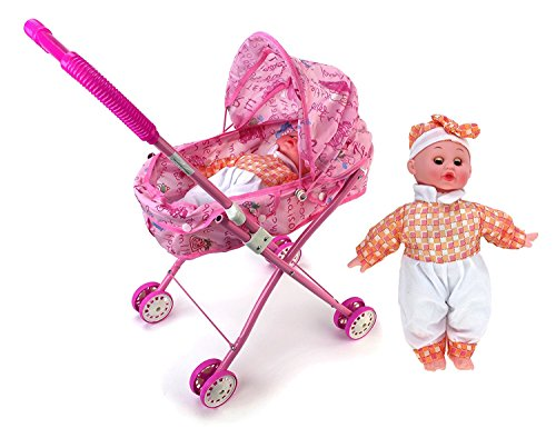 Super Cute Adorable Sleepy Newborn Baby Toy Doll w/ Folding Stroller, Stroller Baby Toy for Children, Kids. Toy Babies for Fun Pretend play (Newborn Doll Stroller)