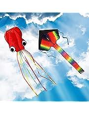 ZoomSky 2-pack vliegers - grote Rainbow Delta-vlieger en rode weekdier-octopus met lange kleurrijke staart voor kinderen Buitenspel, activiteiten, strandtrip