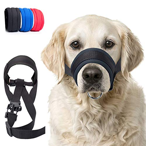 wintchuk Dog Muzzle with Fabric for Small, Medium and Large Dogs, Anti Biting, Chewing, Adjustable Neck, Breathable(M,Black)