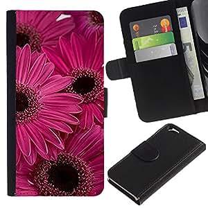 KLONGSHOP // Tirón de la caja Cartera de cuero con ranuras para tarjetas - Flor de la margarita Rosa Violeta Flores - Apple Iphone 6 //