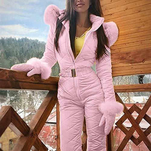 Genlesh de Mujer Traje de Esqu Medium Mujer Clido Invierno Traje de Nieve Exterior Sports Pantalones Traje de Esqu Impermeable Mono Blanco