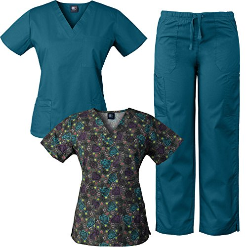 Medgear 3-Piece Combo, Eversoft Scrubs Set with Printed Scrubs Top - Cute Scrub