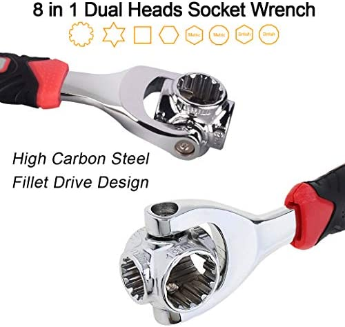 Color : 8 inches xianggujie Adjustable Ratchet Wrench Folding Handle Dual Purpose Socket Wrench Spanner Hand Tool Spanner