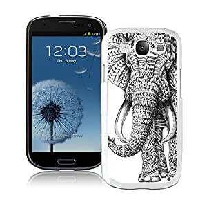 Samsung Galaxy S3 Case Durable Soft Silicone TPU Aztec Elephant Animal Funny Slim White Cell Phone Case Cover