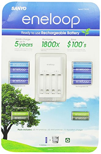 Sanyo Eneloop Ni-MH Charger & Battery Pack (8x AA, 4x AAA) (3rd Gen, 1800x recharge cycles) (Sanyo Phone Cell Cases)