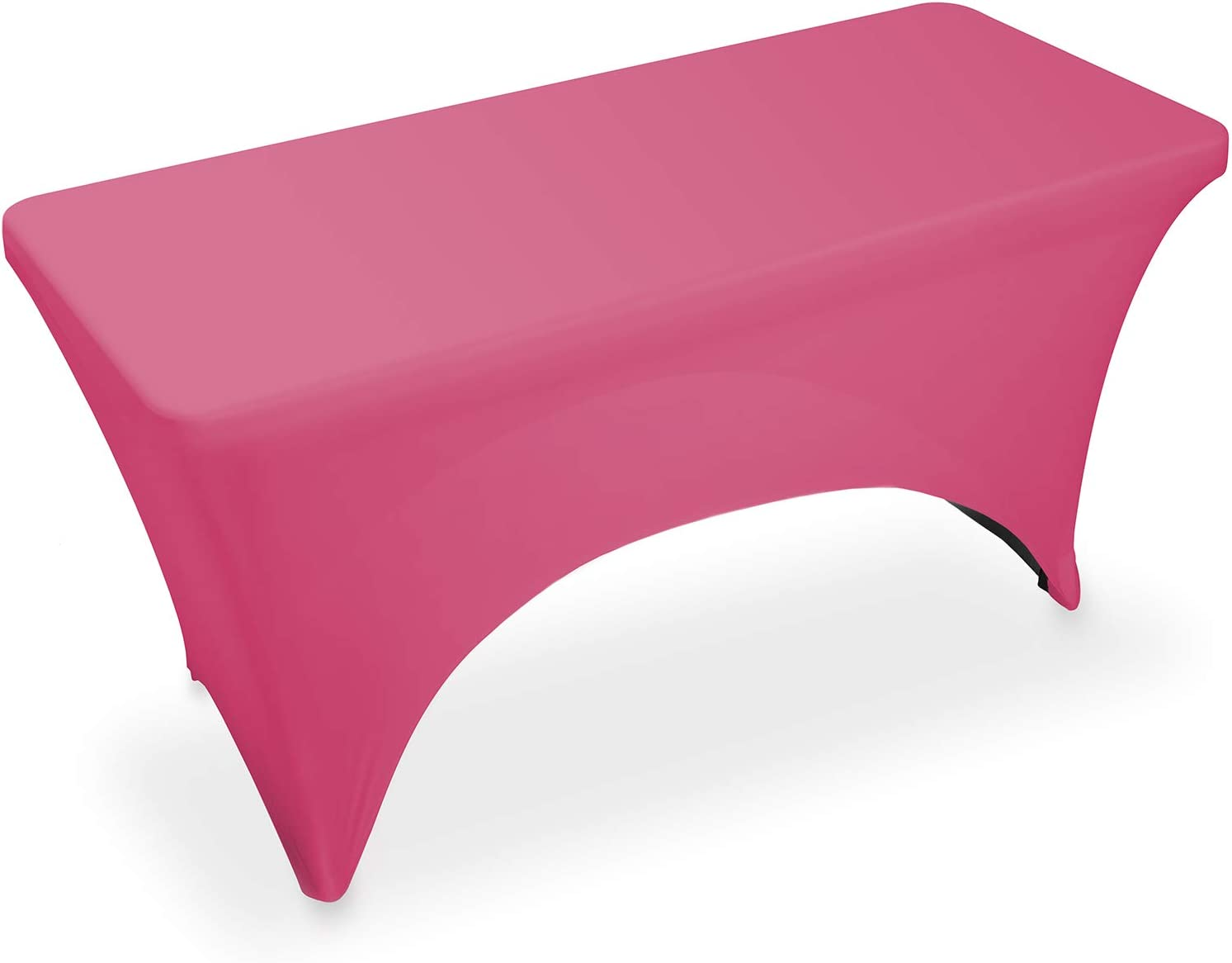 """Lann's Linens - 4' Fitted Stretch Tablecloth for 48"""" x 24"""" Rectangular Table - Wedding/Banquet/Trade Show - Spandex Cloth Fabric Cover - Fuchsia"""