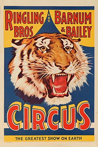 USA - Ringling Bros and Barnum and Bailey Circus (tiger head) - Vintage Advertisement (9x12 Art Print, Wall Decor Travel ()