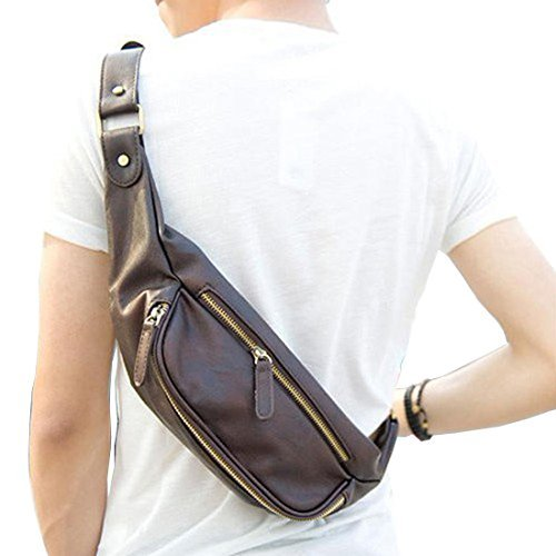 Amazon.com: Small Chest Bag, Berchirly Casual PU Faux Leather Man ...