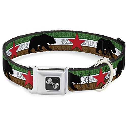 Buckle-Down Seatbelt Buckle Dog Collar - Cali Bear Silhouette & Star/CALIFORNIA REPUBLIC Green/White/Brown/Black/Red - 1
