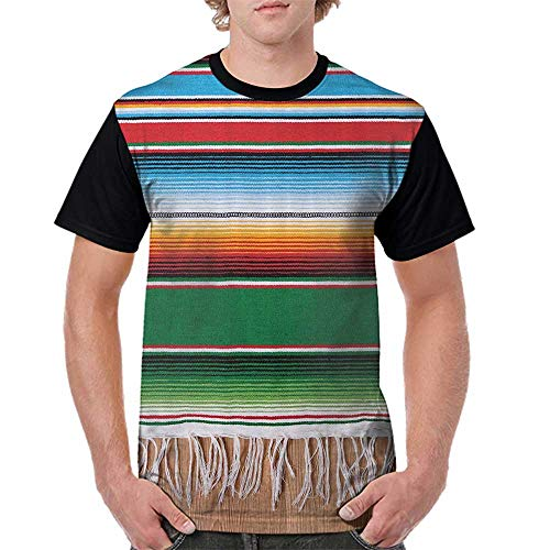 Tops O Neck T Shirts,Mexican Decorations,Boho Serape Blanket with Horizontal Stripes and Lines Authentic Picture,Multi S-XXL Sleeves for Men