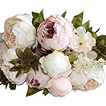 Silk Flowers Faux Peony - 13 Heads European Style Fake Artificial Peony Silk Decorative Party Flowers For Home Hotel Wedding Office Garden Décor - Spring Flowers Artificial (Light Pink)