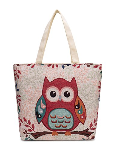 Authentic Large Canvas Tote owl -