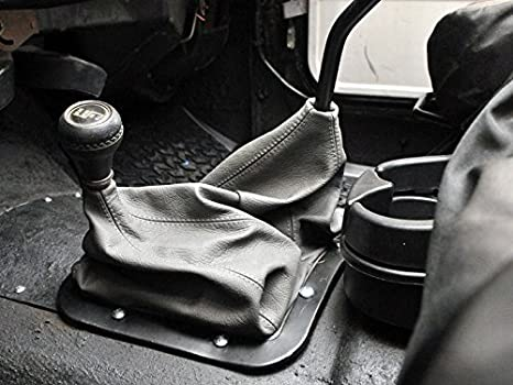 Compatible with Jeep Wrangler YJ 1987-95 Dual RedlineGoods Shift Boot Sierra Leather-Black Thread