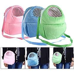 Pet Carrier Bag Pet Pocket,21x25cm Hamster Carrier Breathable Pocket Hamster Ferret Travel Sleeping Hanging Bed Bag (Blue+Pink+ Green)