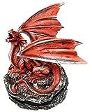Roaring Meteor Volcano Red Dragon Back Cone Incense Burner Sculpture Figurine