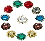 Ababalaya 2cm Muslim Multi-Use Flower Rhinestone Brooches Pins Hijab Pins Accessory Pack of 12
