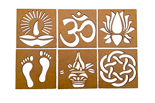 Buy 6 In 1 Wooden Rangoli Stencil Diwali And Festive Home Decoration 6 Design 4 X 4 Inches Brown Online At Low Prices In India Amazon In