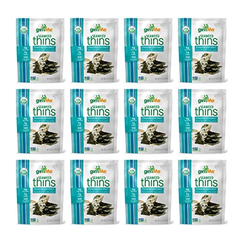 - gimMe Snacks - Organic Seaweed Thins - Toasted Coconut - (0.77oz) - (Pack of 12) - non GMO, Gluten Free - Healthy on-the-go snack for kids & adults
