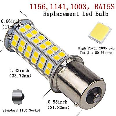 10 x Super Bright 1141 Interior Light Bulbs BA15S 1156 80 SMD LED 1003 900 Lumens RV Camper Trailer Turn Signal Backup Reverse,Natural White: Automotive