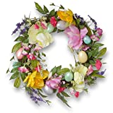 National Tree 20 Inch Easter Wreath with Tulips and Pastel Eggs (RAE-AW03013-1)