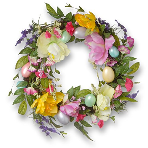 (National Tree 20 Inch Easter Wreath with Tulips and Pastel Eggs)