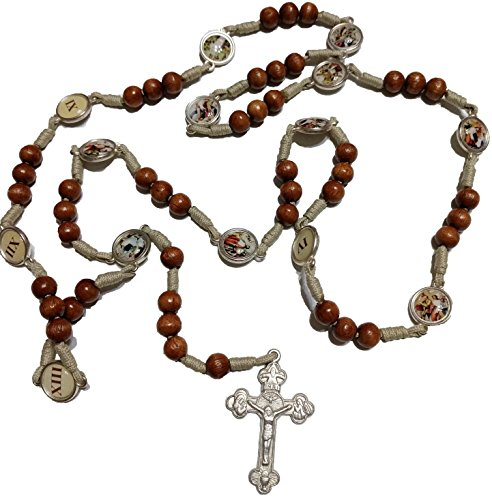 Stations of the Cross Handmade Rosary Made Of Wood From Medjugorje 22.8 inc