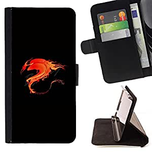 DEVIL CASE - FOR Sony Xperia Z1 L39 - Flame Flaming Fire Tribal Dragon - Style PU Leather Case Wallet Flip Stand Flap Closure Cover